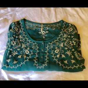 Free People teal embroidered sheer blouse